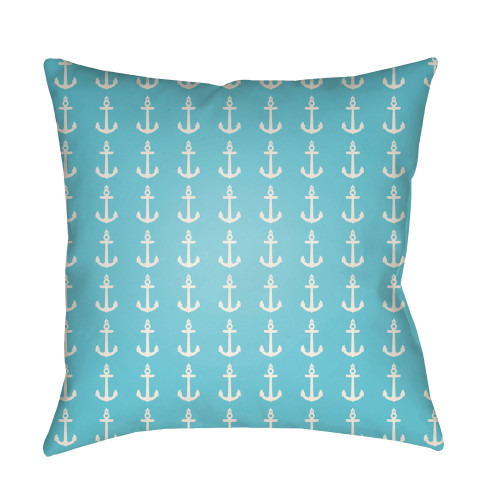 "18"" Sky Blue and White Square Throw Pillow Cover with Knife Edge - IMAGE 1"