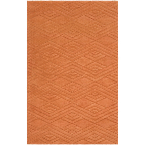 8' x 11' Chevron Design Orange Rectangular Area Throw Rug - IMAGE 1