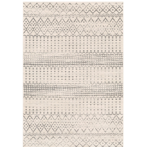 2' x 3' Distressed Tribal Bohemian Patterned Ivory and Gray Rectangular Machine Woven Area Rug - IMAGE 1