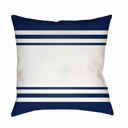 "18"" Navy Blue and White Striped Square Throw Pillow Cover - IMAGE 1"