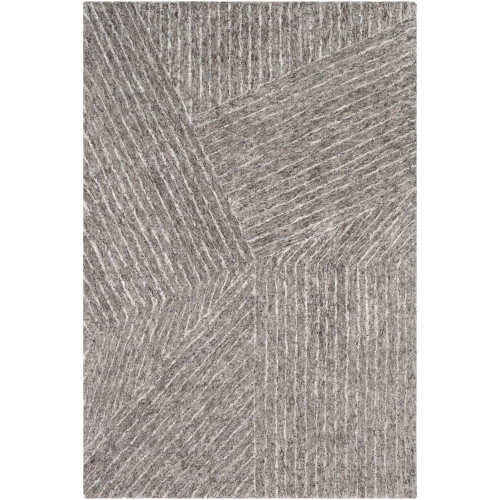 8' x 10' Contemporary Style Brown and White Rectangular Area Throw Rug - IMAGE 1