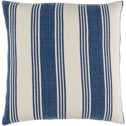 """20"""" Beige and Navy Blue Printed Stripe Pattern Square Throw Pillow Cover - IMAGE 1"""