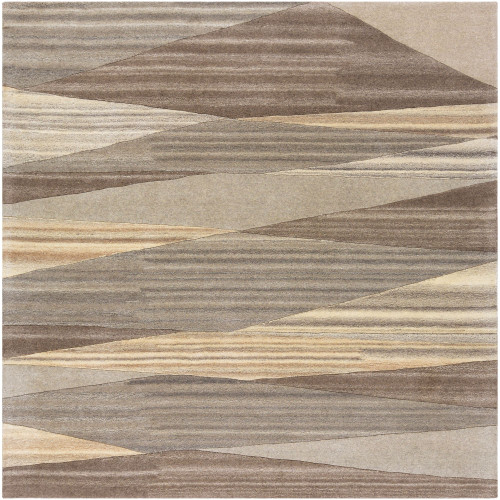 9.75' x 9.75' Geometric Beige and Brown Square Area Throw Rug - IMAGE 1