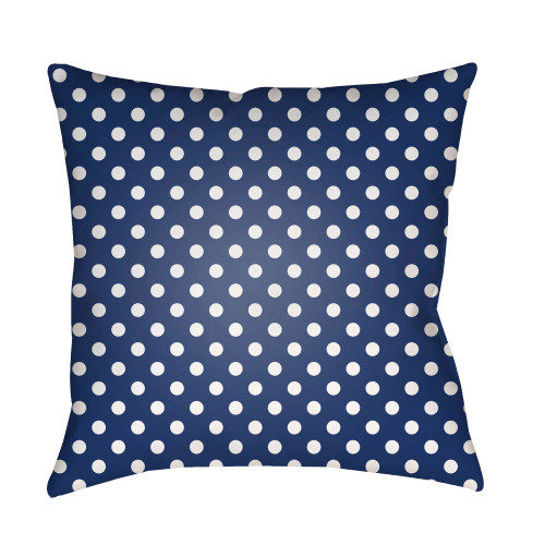 """18"""" Navy Blue and White Polka Dots Printed Square Throw Pillow Cover - IMAGE 1"""