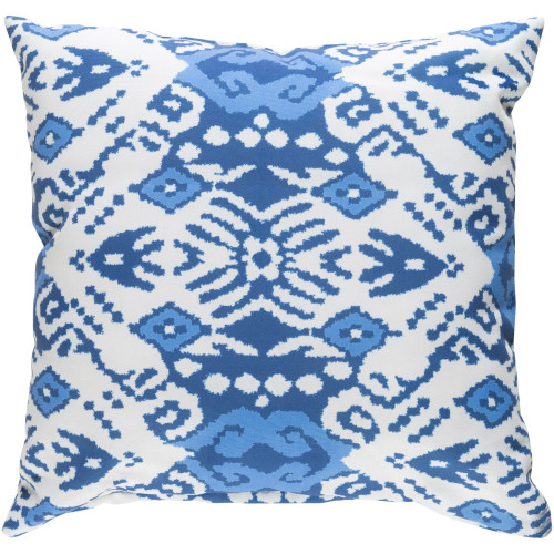 """18"""" White and Blue Square Throw Pillow Cover - IMAGE 1"""