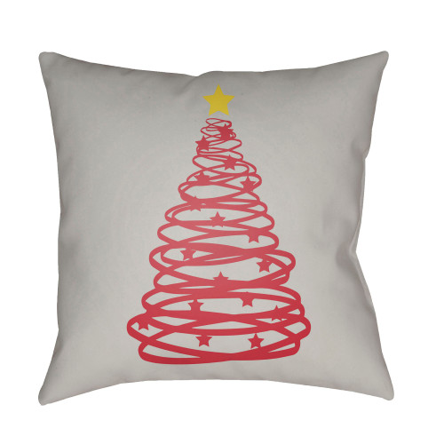 """18"""" Fossil Gray and Red Christmas Tree Printed Square Throw Pillow Cover - IMAGE 1"""