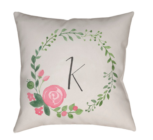 """18"""" White and Green Floral """"K"""" Initial Printed Square Throw Pillow Cover with Knife Edge - IMAGE 1"""
