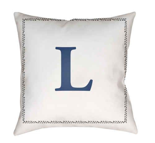 """18"""" Denim Blue and White """"L"""" Printed Square Throw Pillow Cover - IMAGE 1"""