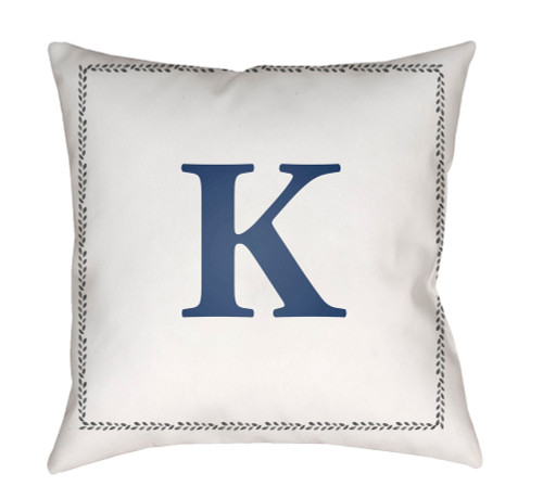 """18"""" Denim Blue and White """"K"""" Printed Square Throw Pillow Cover - IMAGE 1"""
