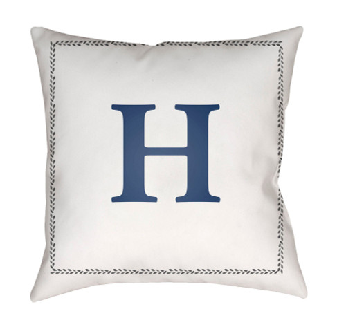 """18"""" Denim Blue and White """"H"""" Printed Square Throw Pillow Cover - IMAGE 1"""