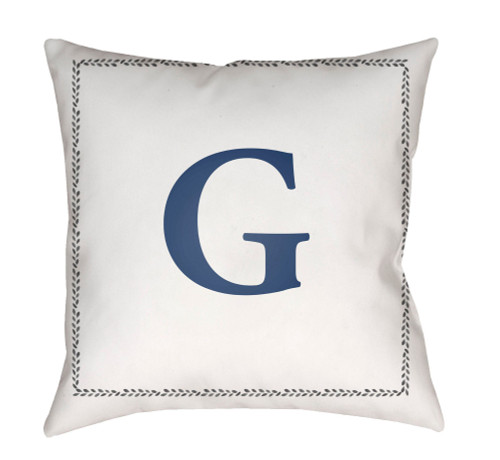 """18"""" Denim Blue and White """"G"""" Printed Square Throw Pillow Cover - IMAGE 1"""