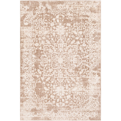 2' x 3' Distressed Floral Mandala Design Brown and Beige Rectangular Machine Woven Area Throw Rug - IMAGE 1