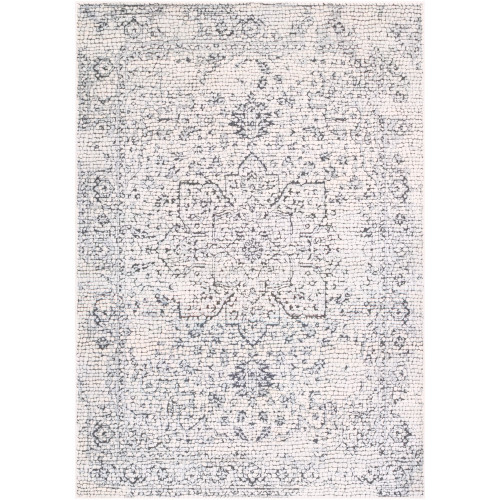 2' x 3' Distressed Floral Medallion Design Gray and Beige Rectangular Machine Woven Area Throw Rug - IMAGE 1