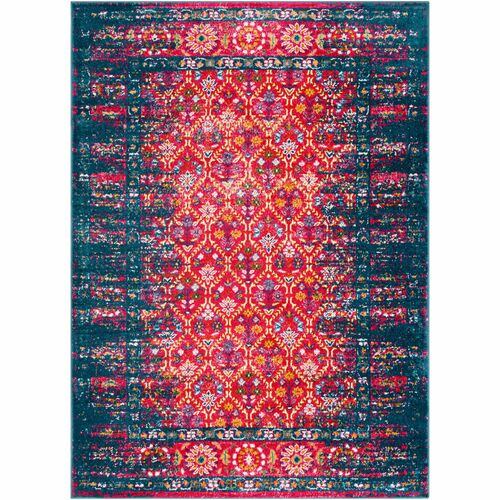 2' x 3' Floral Pattern Blue, Pink and Orange Rectangular Machine Woven Area Throw Rug - IMAGE 1