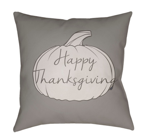 """18"""" Gray """"Happy Thanksgiving"""" Printed Square Throw Pillow Cover - IMAGE 1"""