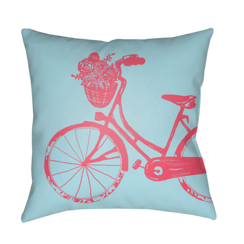 """18"""" Blue and Red Bicycle Printed Square Throw Pillow Cover - IMAGE 1"""