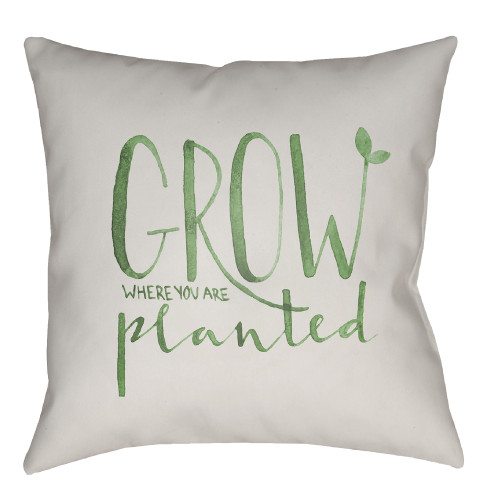 """18"""" White and Green """"GROW Where You Are Planted"""" Printed Square Throw Pillow Cover - IMAGE 1"""