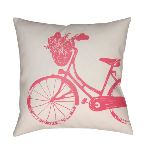 "18"" Cream White and Pink Bicycle Printed Square Throw Pillow Cover - IMAGE 1"