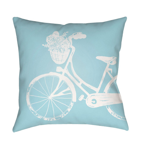 """18"""" Aqua Blue and White Bicycle Printed Square Throw Pillow Cover - IMAGE 1"""