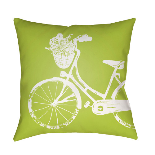 """18"""" Green and White Bicycle Printed Square Throw Pillow Cover - IMAGE 1"""