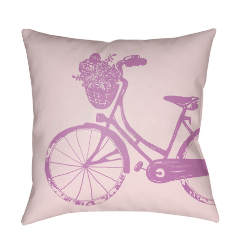 "18"" Purple and White Bicycle Printed Square Throw Pillow Cover - IMAGE 1"
