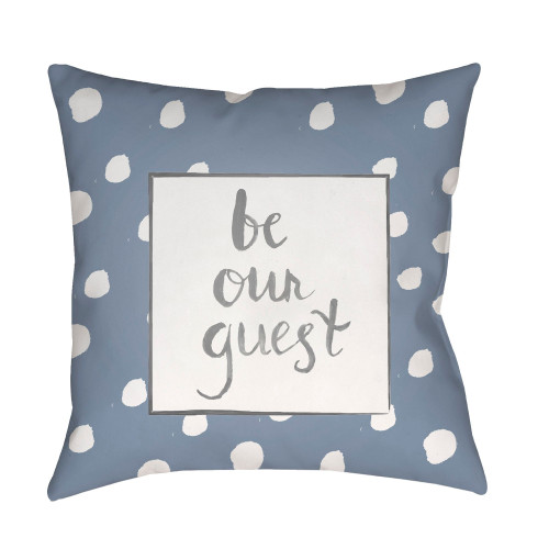 """18"""" White and Gray """"be our guest"""" Printed Square Throw Pillow Cover - IMAGE 1"""