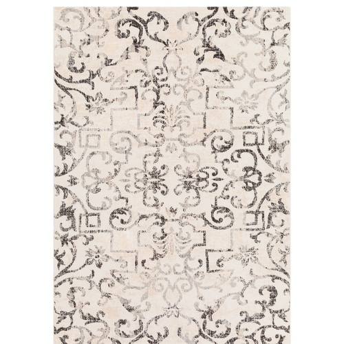 2' x 3' Distressed Floral Motif Charcoal Gray and Beige Rectangular Area Throw Rug - IMAGE 1