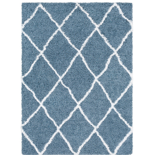 2' x 3' Blue and White Moroccan Diamond Patterned Rectangular Machine Woven Area Rug - IMAGE 1