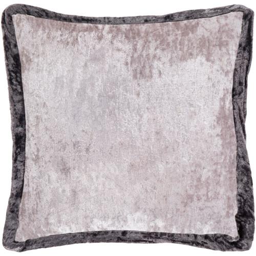 "20"" Light Gray and Black Crushed Velvet Square Throw Pillow - Polyester Filler - IMAGE 1"