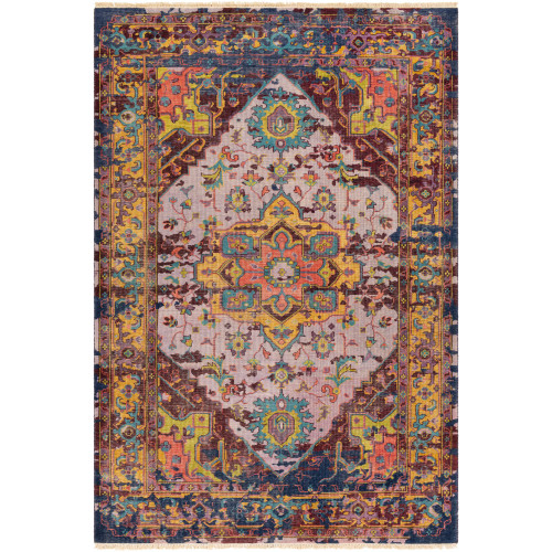 6' x 9' Traditional Style Violet and Mustard Yellow Rectangular Area Throw Rug - IMAGE 1