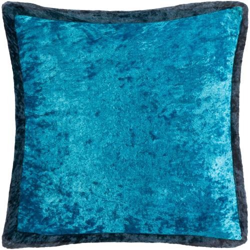 "20"" Blue Crushed Velvet Square Throw Pillow - Polyester Filler - IMAGE 1"