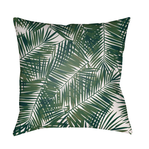 """18"""" Green and White Fern Leaves Printed Square Throw Pillow Cover - IMAGE 1"""