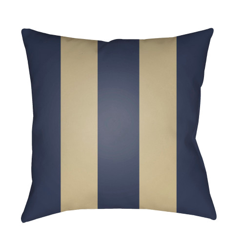 "18"" Navy Blue and Beige Striped Square Throw Pillow Cover - IMAGE 1"