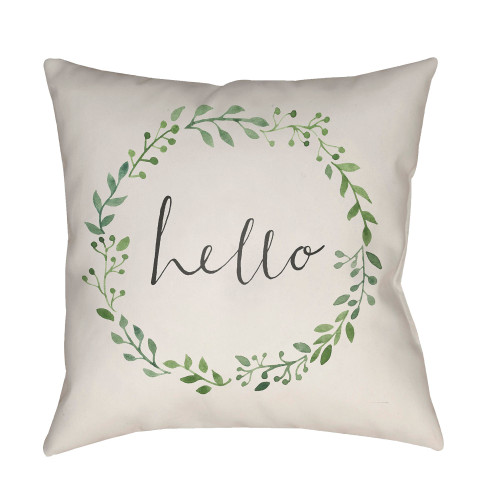 """18"""" Green and Ivory """"hello"""" Printed Square Throw Pillow Cover - IMAGE 1"""