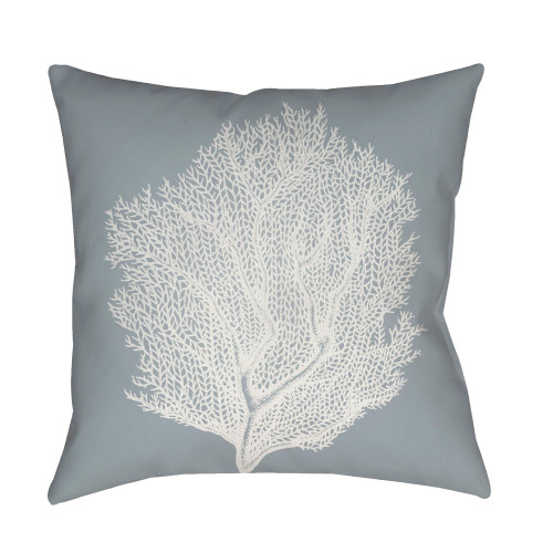 "18"" Gray and White Coral Printed Square Throw Pillow Cover - IMAGE 1"