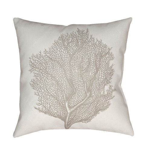 "18"" White and Gray Coral Printed Square Throw Pillow Cover - IMAGE 1"