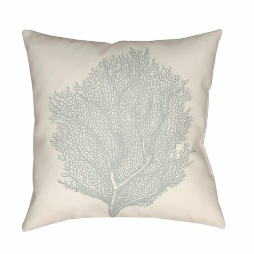 "18"" Beige and Gray Coral Printed Square Throw Pillow Cover - IMAGE 1"