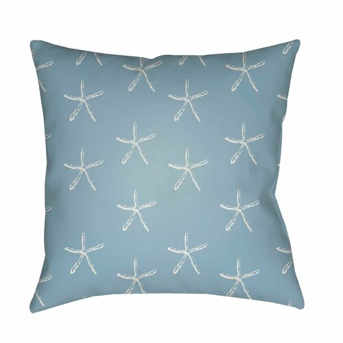 """18"""" Blue and Gray Starfish Printed Square Throw Pillow Cover - IMAGE 1"""