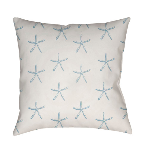 """18"""" Blue and Ivory Starfish Printed Square Throw Pillow Cover - IMAGE 1"""