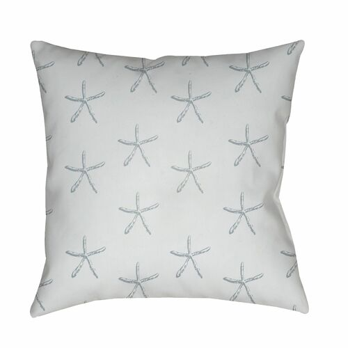 """18"""" White and Gray Starfish Printed Square Throw Pillow Cover - IMAGE 1"""