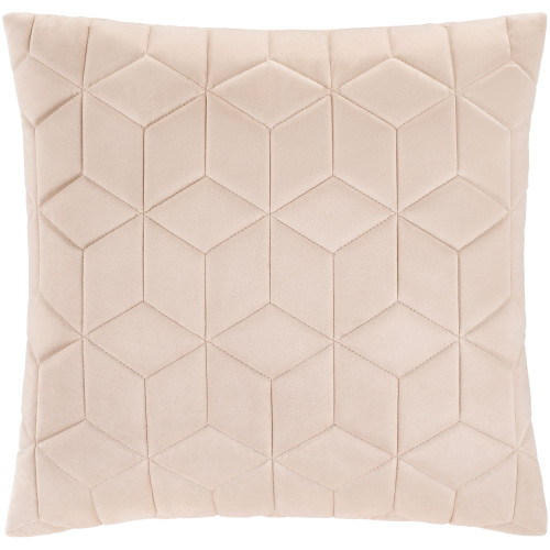 """22"""" Beige Geometric Square Throw Pillow with Knife Edge - Down Filler - IMAGE 1"""