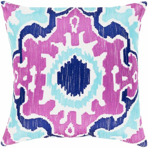 """20"""" Purple and Blue Square Throw Pillow with Knife Edge - Poly Filled - IMAGE 1"""