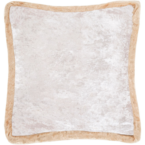 """20"""" Beige and Ivory Crushed Velvet Square Throw Pillow - Polyester Filler - IMAGE 1"""