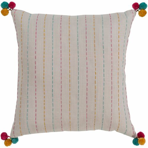 """20"""" Fossil Gray and Orange Striped Square Throw Pillow - Down Filler - IMAGE 1"""