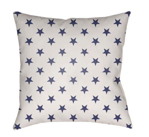 "18"" Navy Blue and White Square Throw Pillow Cover with Knife Edge - IMAGE 1"