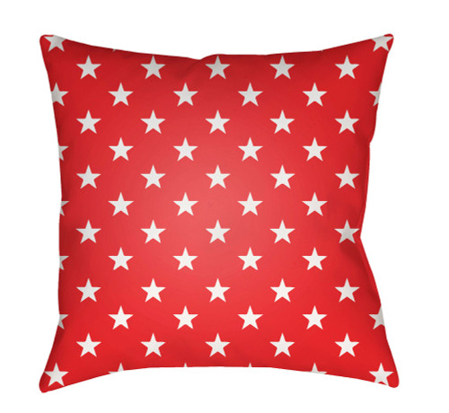 """18"""" Red and White Square Throw Pillow Cover with Knife Edge - IMAGE 1"""