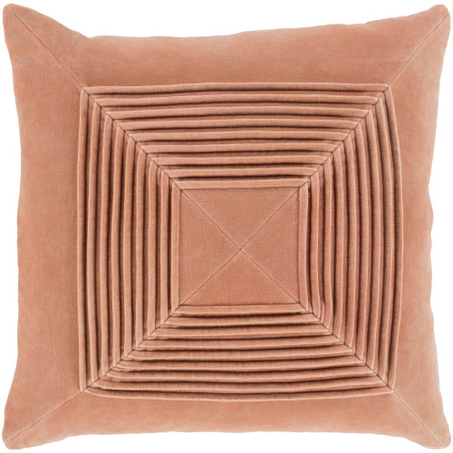 """18"""" Orange Pleated Square Throw Pillow with Knife Edge - Down Filler - IMAGE 1"""