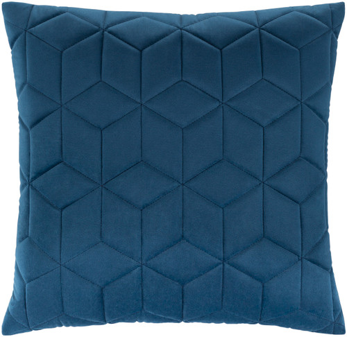 """22"""" Blue Geometric Square Throw Pillow with Knife Edge - Down Filler - IMAGE 1"""