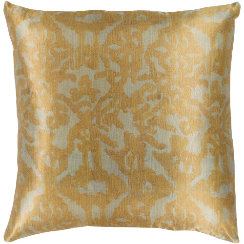 """22"""" Gold Colored and Beige Woven Square Throw Pillow - Down Filler - IMAGE 1"""