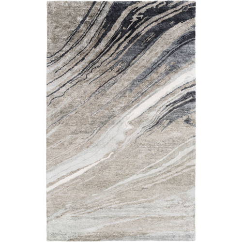 6' x 9' Abstract Style Brown and Black Rectangular Area Throw Rug - IMAGE 1